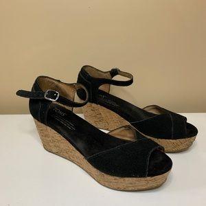 Toms Black Suede Platform Wedges with Ankle Straps